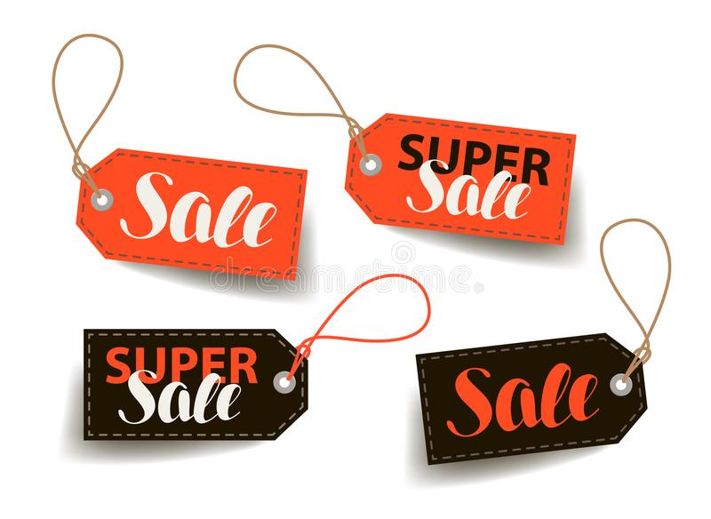 Sale, price tag. Shopping, trade, cheap label. Lettering vector illustration. Isolated on white background royalty free illustration