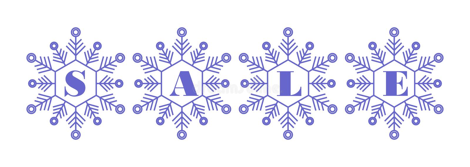 Winter sale  icon blue letters on snowflakes white background royalty free stock image