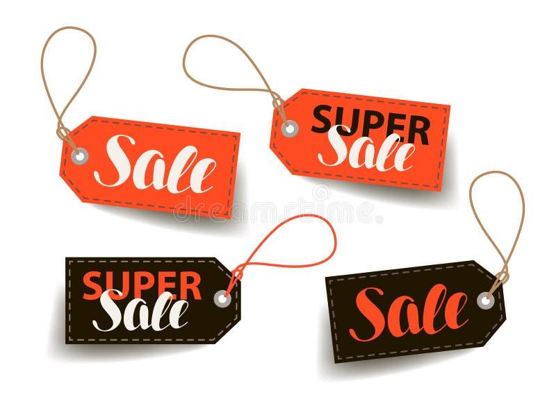 Sale prislapp Shoppa handel, billig etikett Bokstävervektorillustration royaltyfri illustrationer