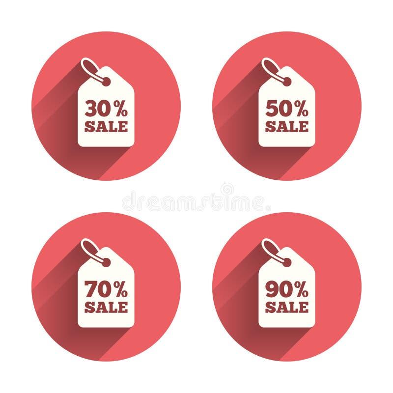 Sale prislappsymboler rabatten objects röda försäljningssymboler royaltyfri illustrationer