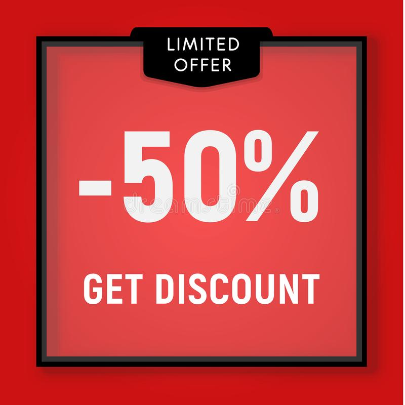 Sale 50 procent av, får rabattwebsiteknappen Shoppa f?nstret, bak exponeringsglasdesign Sale i svart ram på rött royaltyfri illustrationer
