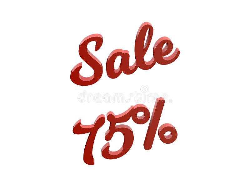 Sale 75 procent avfärdar den Calligraphic 3D framförda textillustrationen för röd färg stock illustrationer