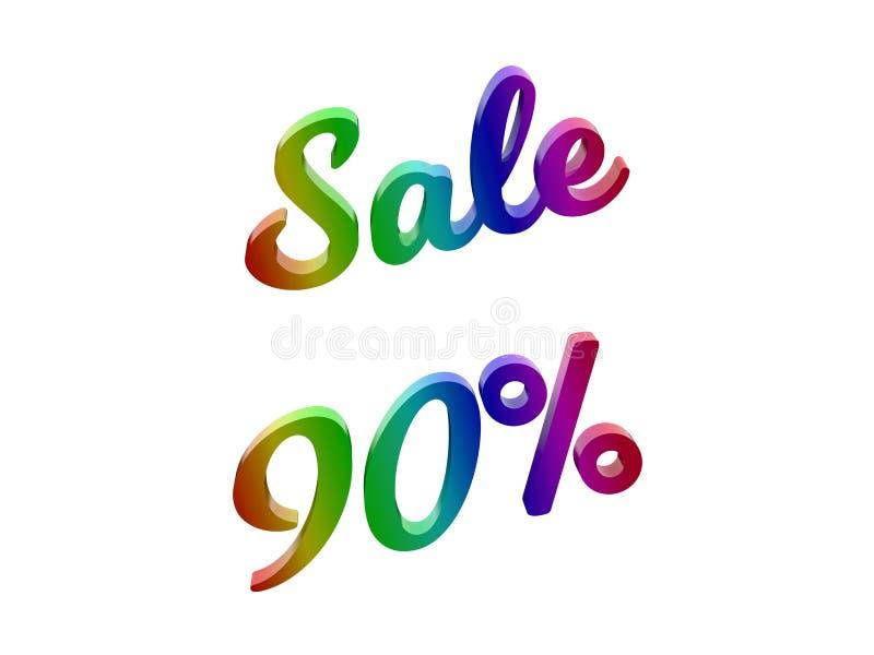 Sale 90 procent avfärdar den Calligraphic 3D framförda textillustrationen som färgas med RGB-regnbågelutning arkivfoto