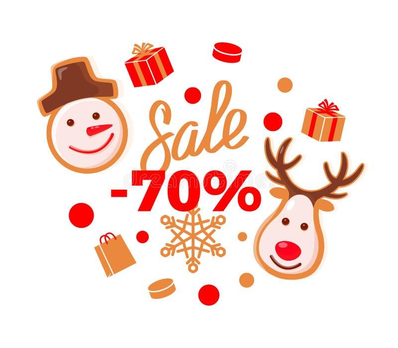 Sale 70 procent pris mer halva av förminskande kostnad royaltyfri illustrationer