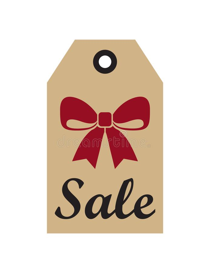 Sale Promo Label with Christmas Red Bow New Year. Symbol on hanging tags vector isolated on white, advertising retail holiday sticker isolated on white vector illustration
