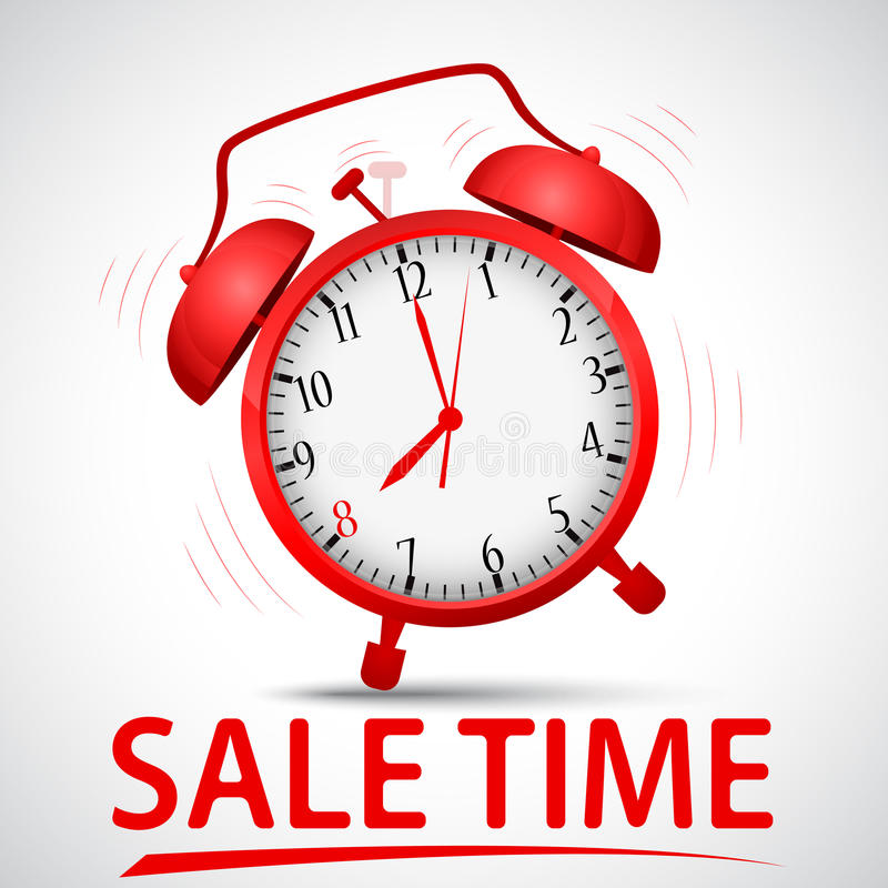 Sale promotion with alarm clock stock illustration