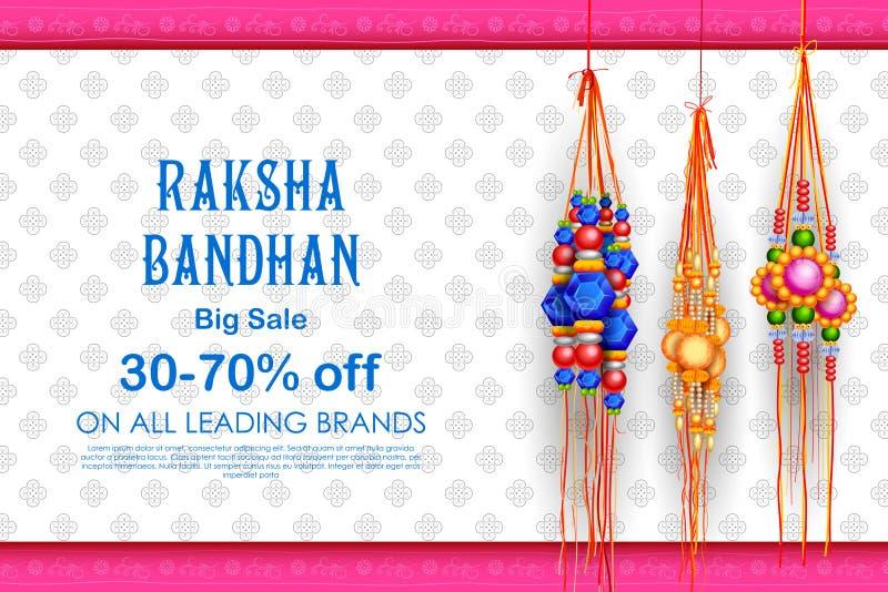 Sale and promotion banner poster with Decorative Rakhi for Raksha Bandhan, Indian festival of brother and sister bonding vector illustration