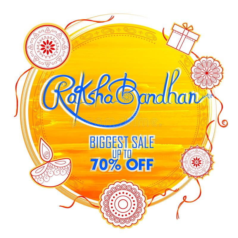 Sale and promotion banner poster with Decorative Rakhi for Raksha Bandhan, Indian festival of brother and sister bonding stock illustration