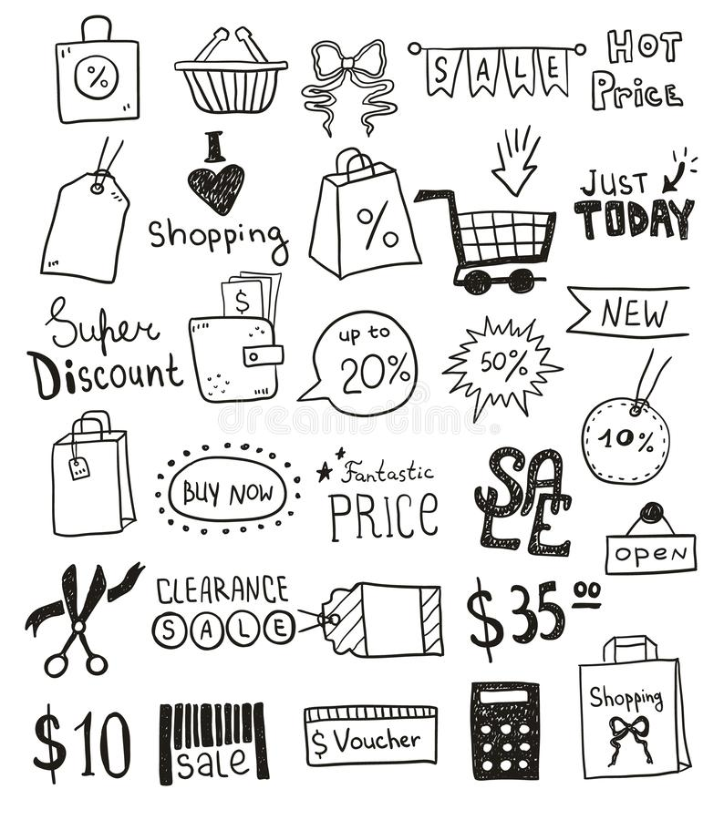 Sale promotion set of icons and objects. Hand drawn doodle discount offer design concept. Black and white outline royalty free illustration