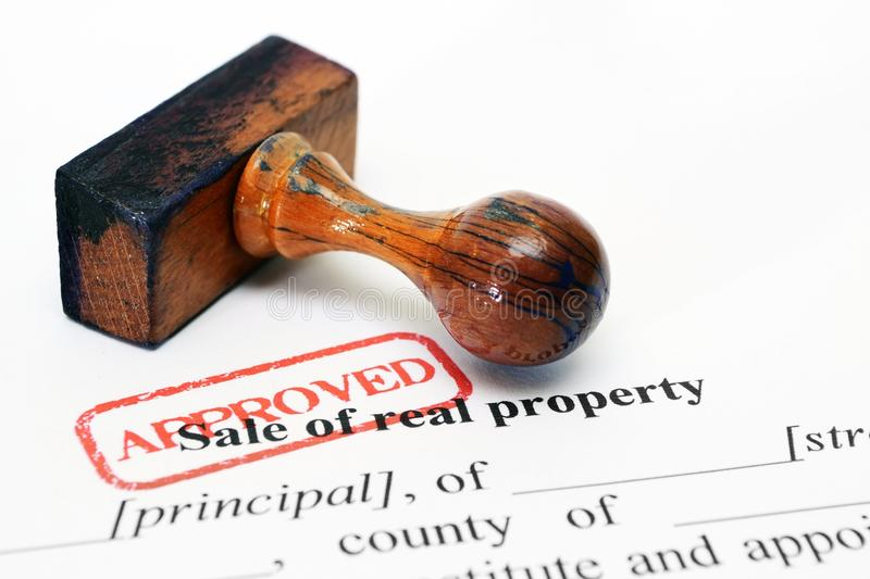 Sale of property form stock image