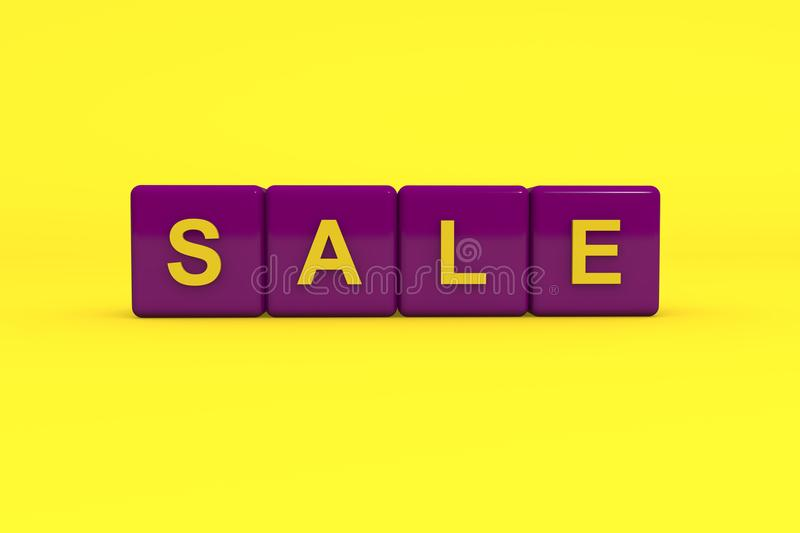 Sale with purple color block on yellow background, 3d illustration stock photos