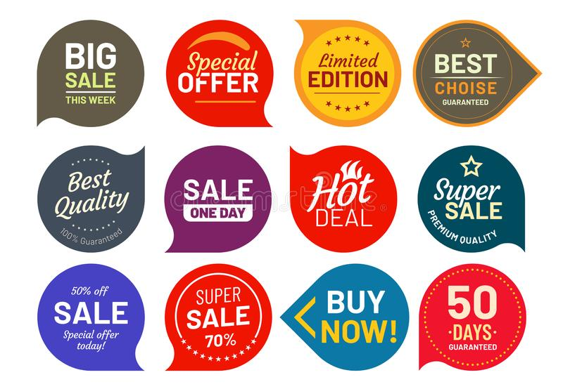 Sale quality badges. Round hundred percent assured label badge. Sticker vector illustration icons set royalty free illustration