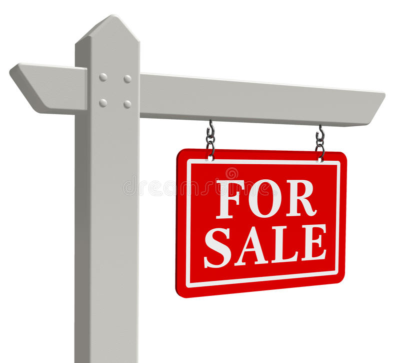 For sale real estate sign. 'For sale' real estate sign isolated over white background