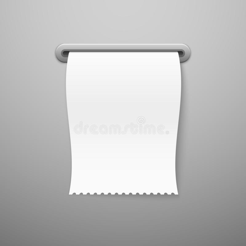 Sale receipt. Blank paper check template print blank bill realistic purchase receipts, pay shop payment retail ticket royalty free illustration