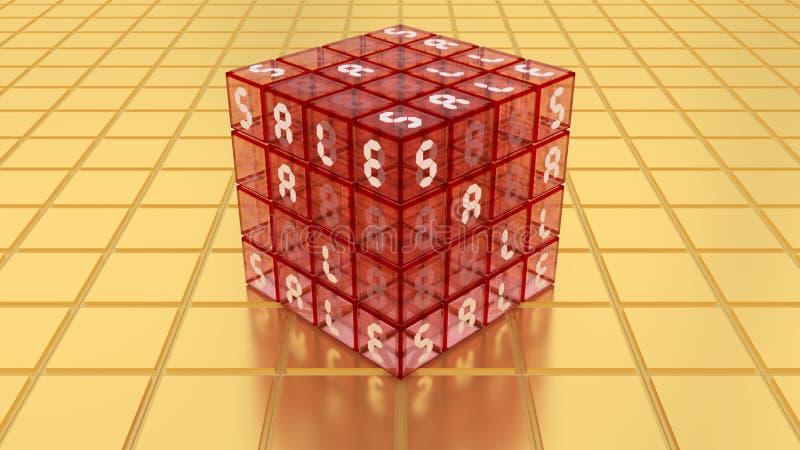 SALE Red Glass Magic Cube Box on Golden Floor vector illustration