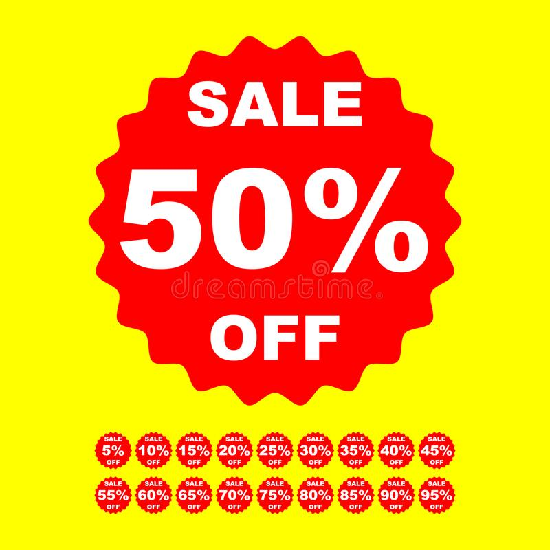 Sale red label isolated discount offer price stickers. Vector illustration stock illustration