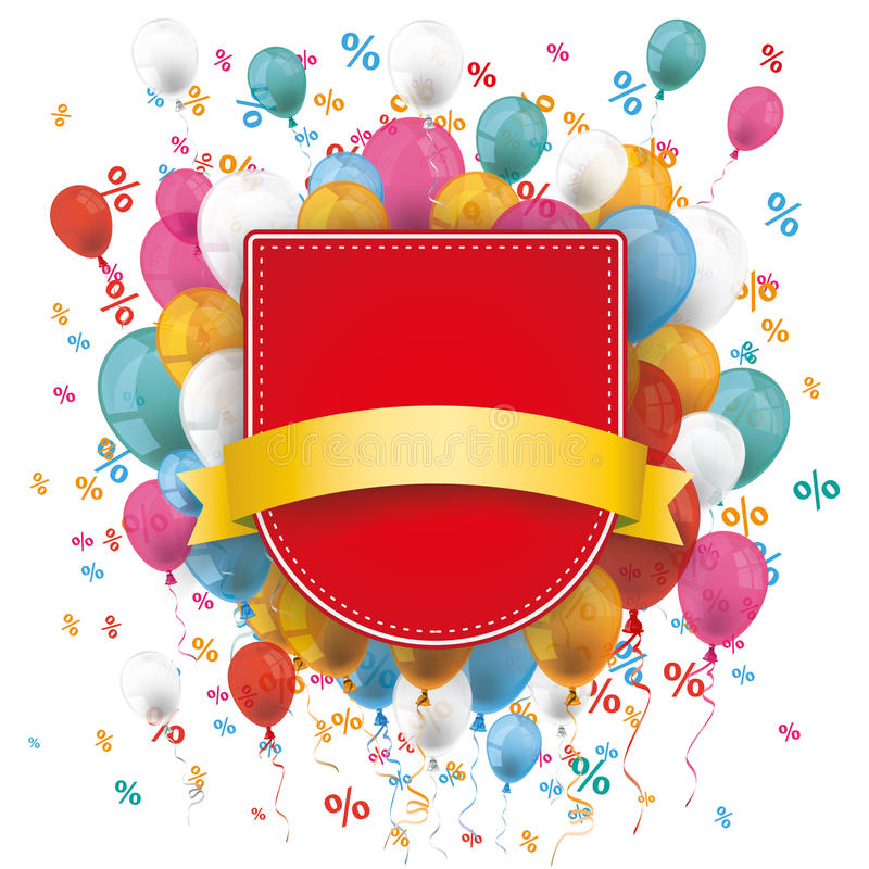 Sale Red Shield Balloons Percents vector illustration
