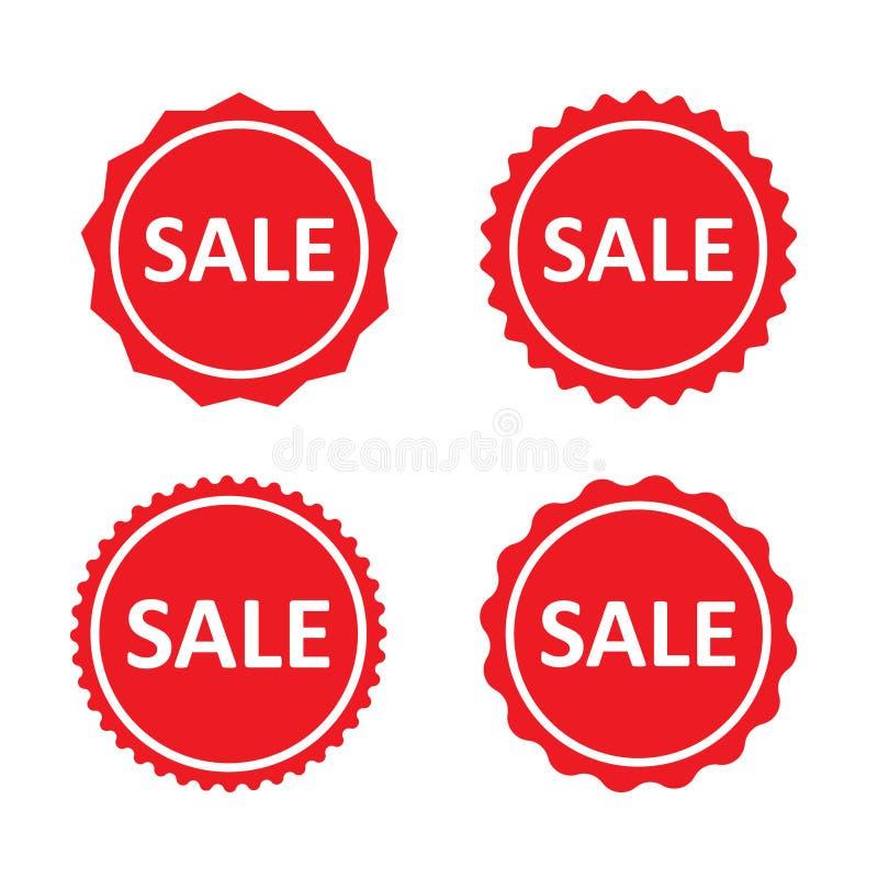 Sale red stamps, label, badges or stickers. Marketing labels set. Vector set. royalty free illustration