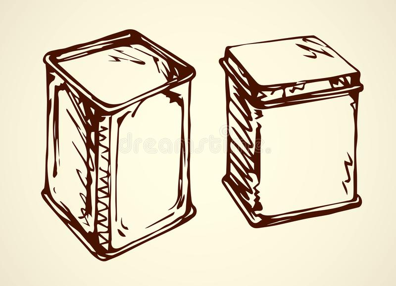 Vector drawing. Box for tea stock illustration