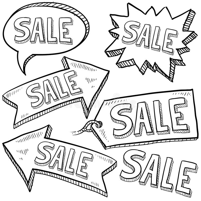 Download Sale Retail Tags And Labels Stock Vector - Illustration of drawing, shopping: 22724718