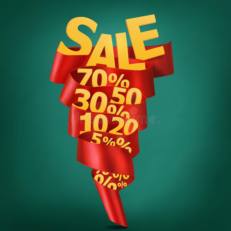 Sale ribbon discount concept vector illustration