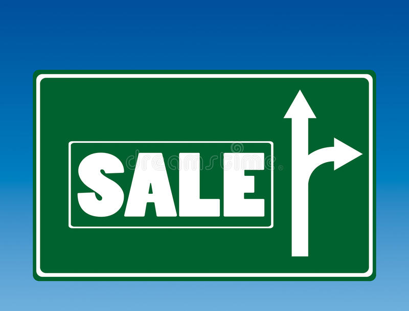 Sale road sign. Illustration of road sign with sale turn vector illustration