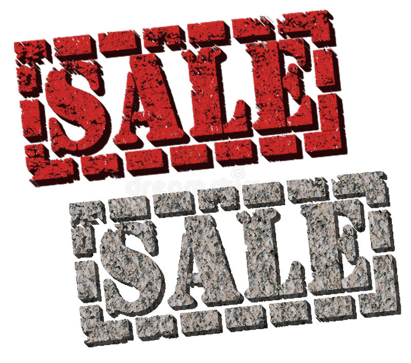 Sale (Rock And Brick Sale Signs) Stock Illustration