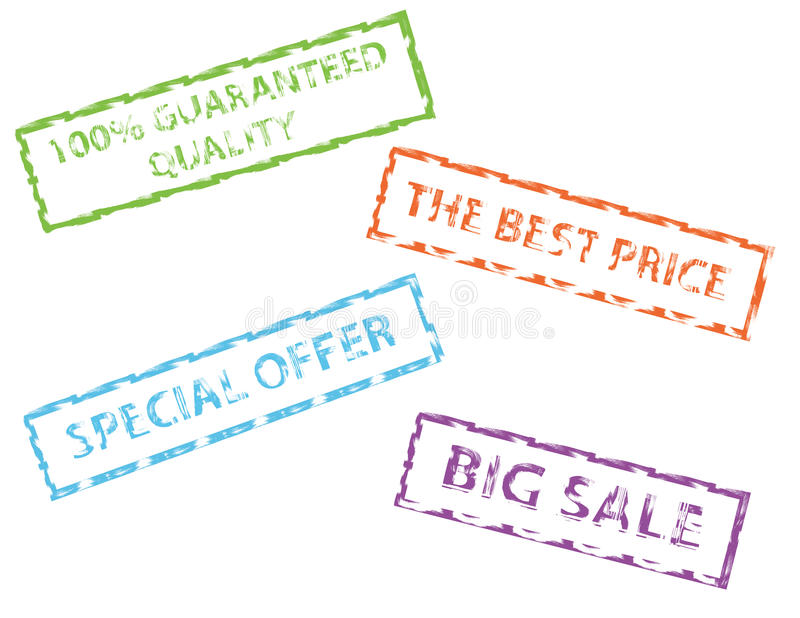 Sale rubber stamps stock illustration