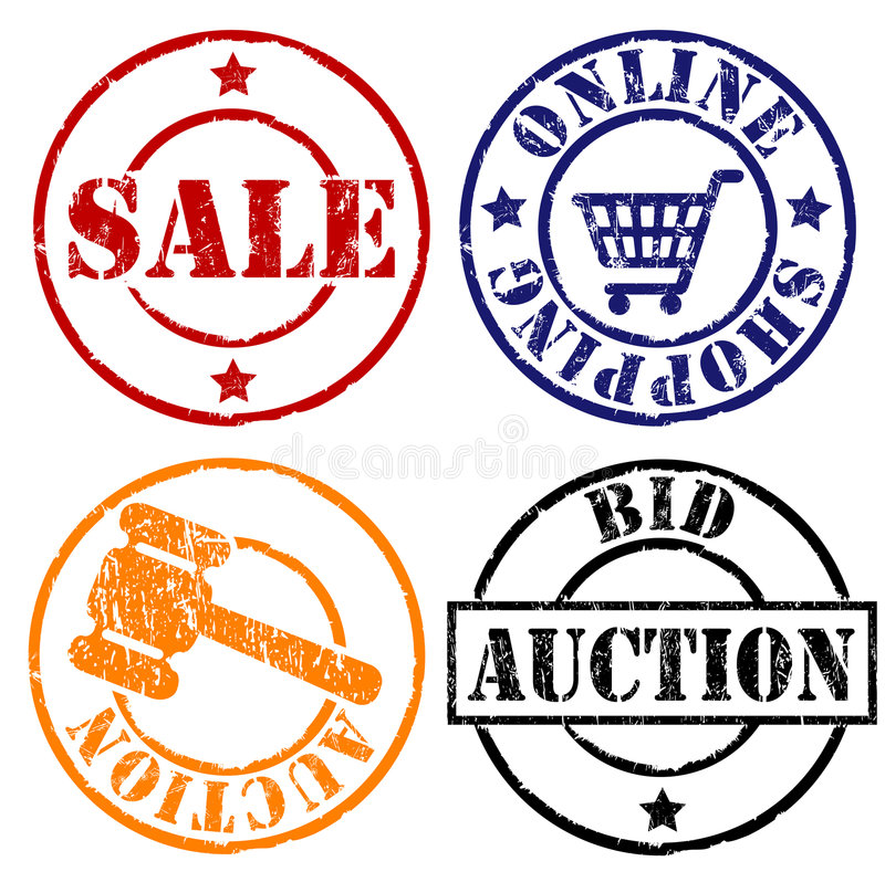 Sale rubber stamps. Rubber stamps of sale and auction with gavel and shopping cart