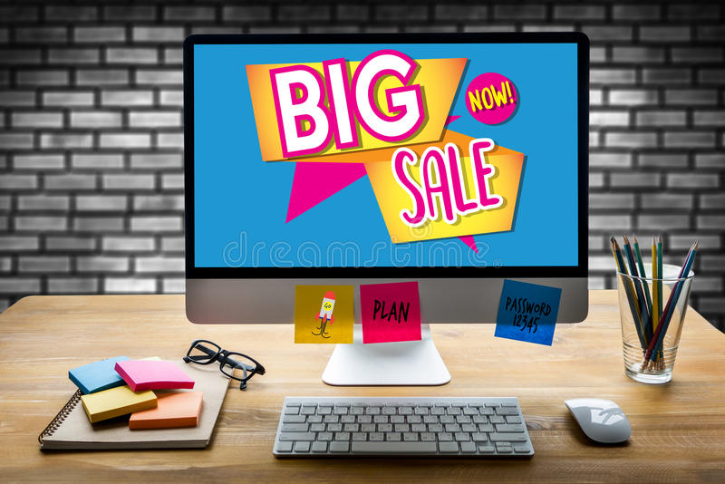 SALE and Sale Discount Promotion Deduction Man Planning , sale n stock photography