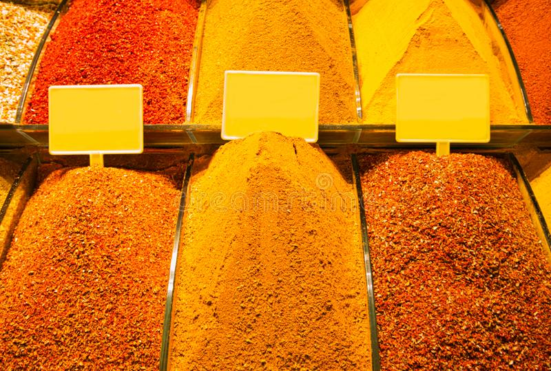 Sale of several spices in the Arab bazaar stock photography