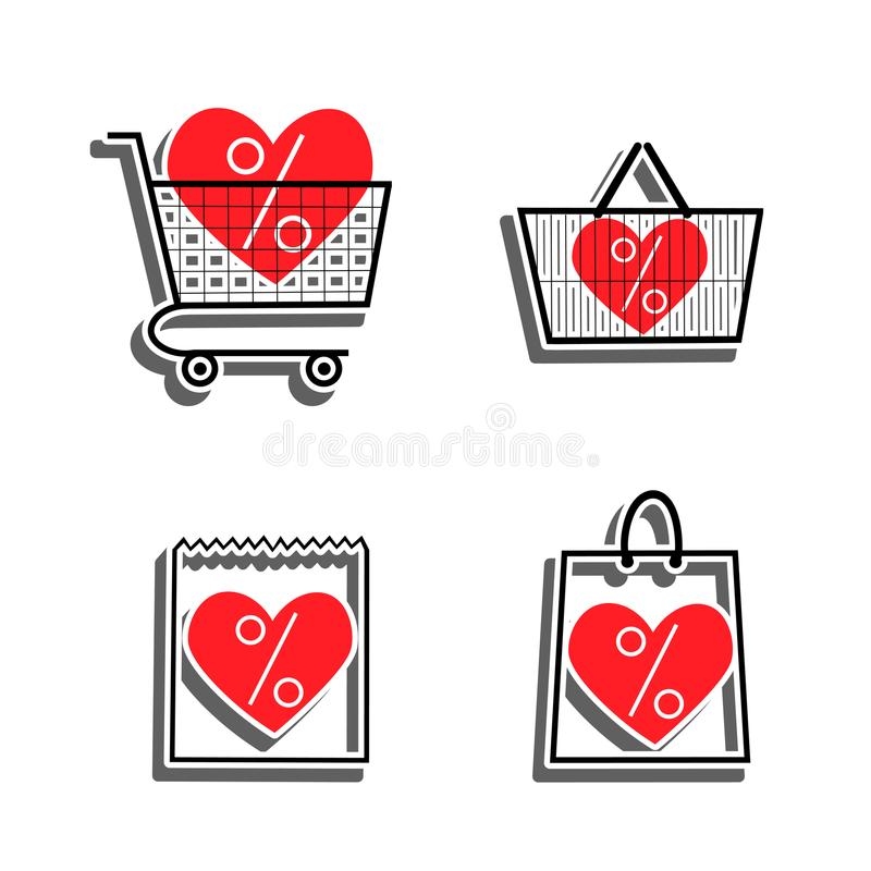 Sale shop bag basket and cart icons. Discount symbol. Special offer label with hearts. Vector stickers. For supermarkets Saint Valentines sales stock illustration