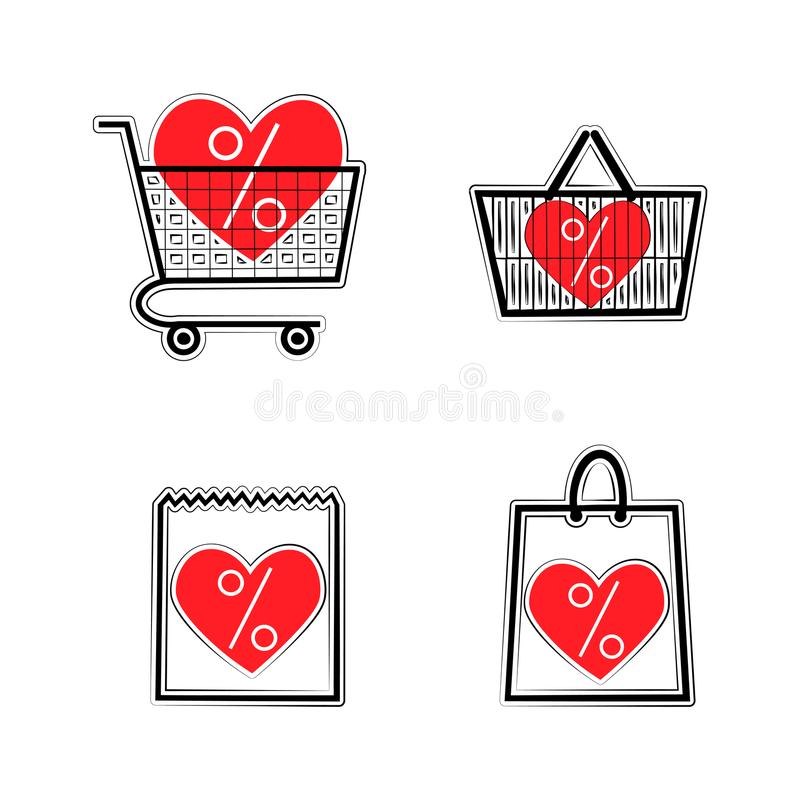Sale shop bag basket and cart icons. Discount symbol. Special offer label with hearts. Vector stickers. Sale shop bag basket and cart icons. Discount symbol with stock illustration