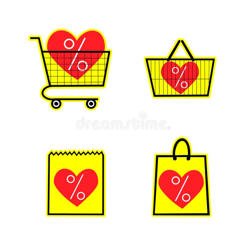 Sale shop bag basket and cart icons. Discount symbol on a yellow background. Special offer label with hearts. Vector. Sale shop bag basket and cart icons stock illustration