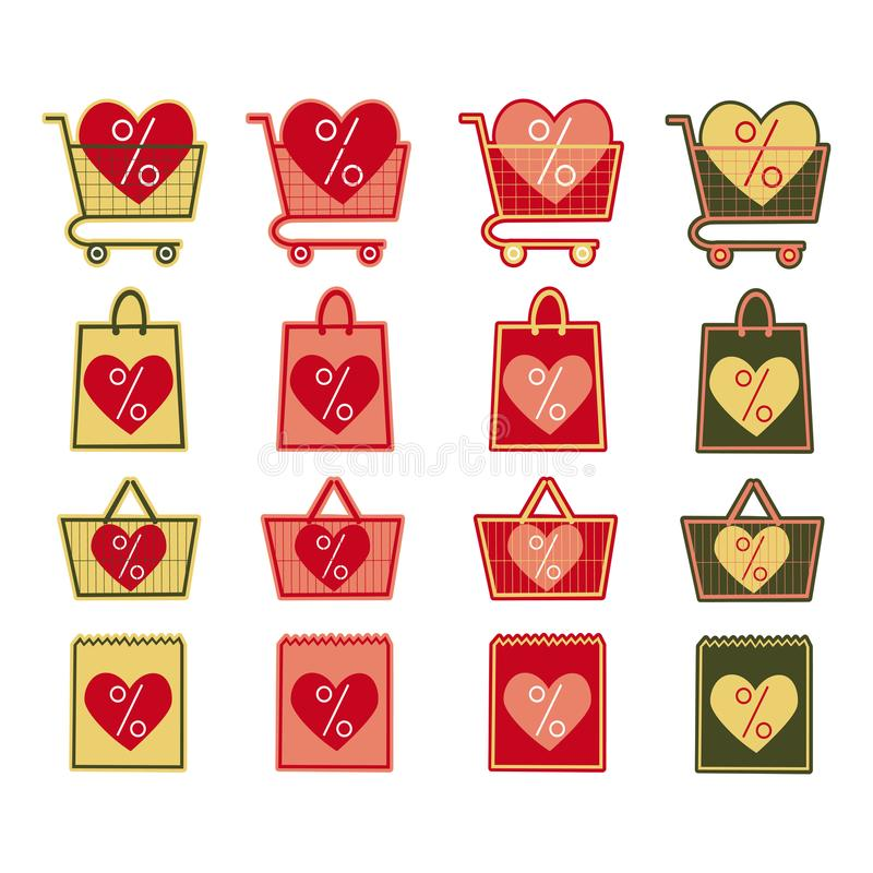 Sale shop bag basket and cart icons set. Discount symbol. Special offer label with hearts. Vector stickers. Sale shop bag basket and cart icons set. Discount vector illustration