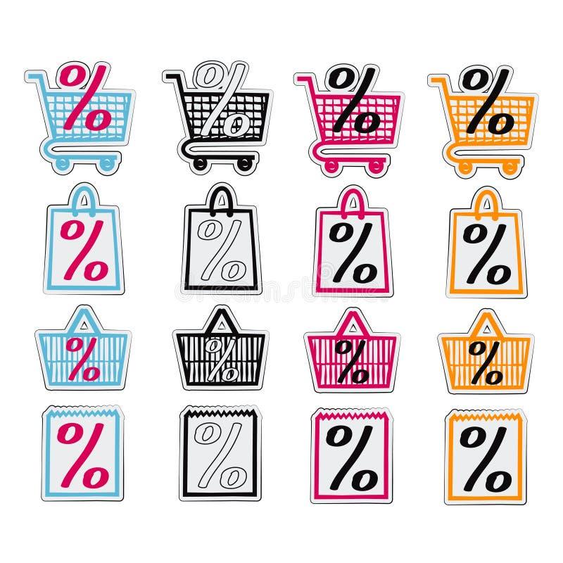Sale shop bag basket and cart icons set. Discount symbol. Special offer labels. Vector stickers. Sale shop bag basket and cart icons set. Discount symbols stock illustration