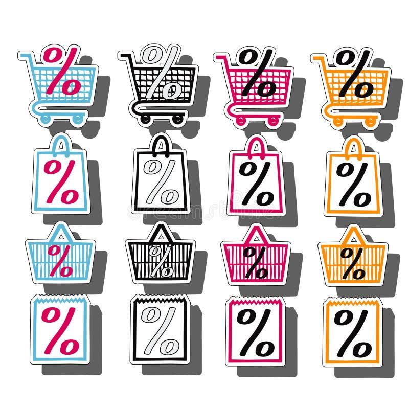 Sale shop bag basket and cart icons set. Discount symbol. Special offer labels. Vector stickers. Sale shop bag basket and cart icons set. Discount symbols vector illustration