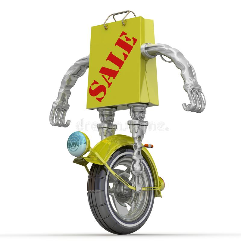 Sale. Shopping bag in a cyborg style on the wheel stock illustration