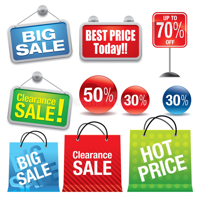 Sale shopping bags and signs stock illustration