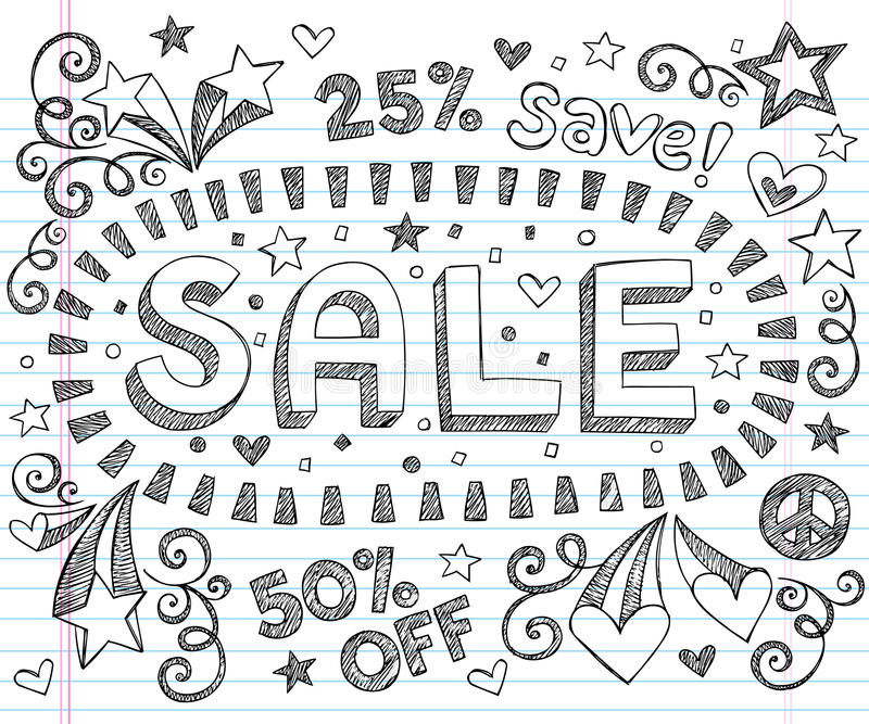 Download Sale Shopping Discount Sketchy Doodles Vector Set Stock Vector - Illustration of business, cute: 26005713