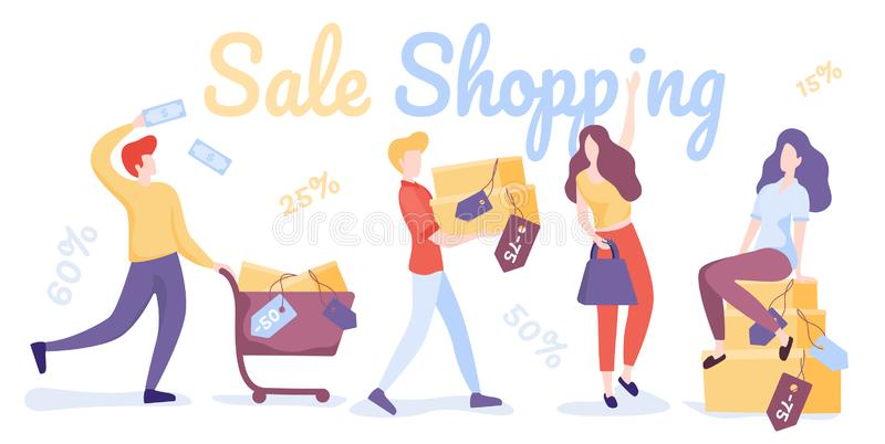 Happy shopping people. Sale shopping. Flat Vector illustration. Sale Shopping. Happy shopping people. Man, woman and shoppers with gift boxes and shopping bags stock illustration