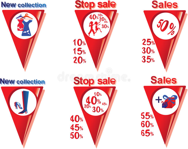 Sale and shopping. Icons and pointers sales and collections for shops and supermarkets, shopping centers, as well as for placement of booklets stock illustration