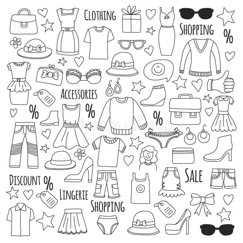 Sale Shopping Market Internet shop Discount Vector set of doodle icons for sale stock illustration