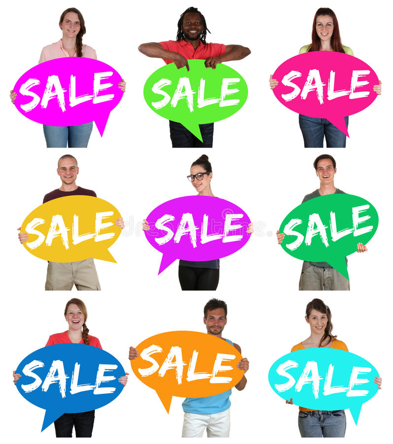 Sale shopping retail group of young people holding speech bubble. S isolated royalty free stock photo