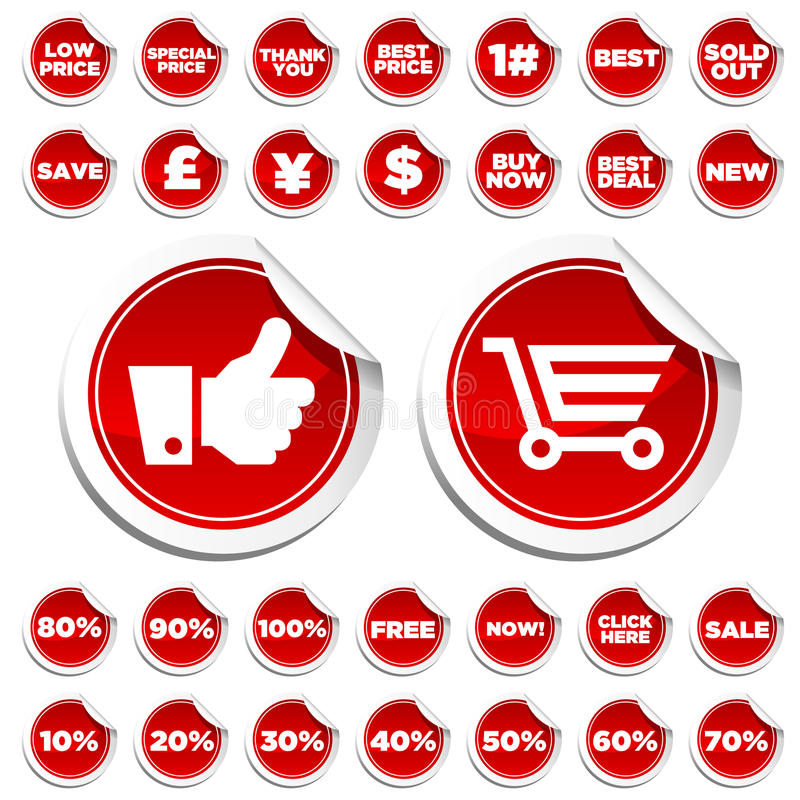Sale and Shopping Stickers royalty free illustration
