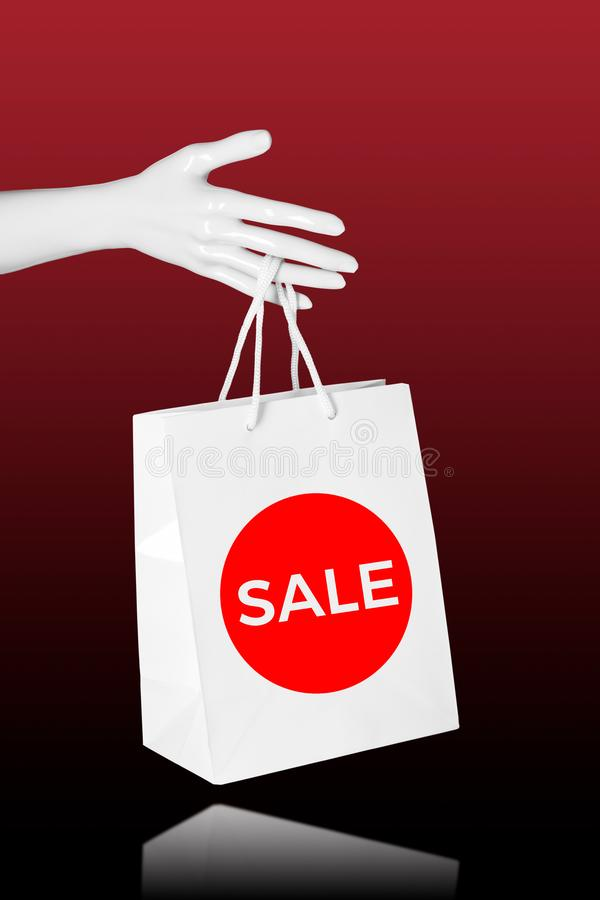 Sale shoppingbegrepp Skyltdockahand med shoppingpåsen vektor illustrationer