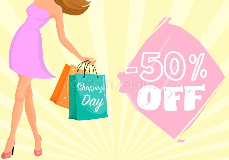 Sale shoppingflicka med påsar vektor illustrationer
