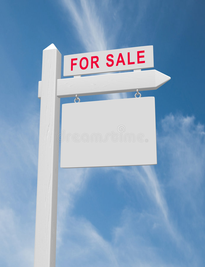 For Sale Sign. For sale real estate sign on wood post with hanging blank placard against blue sky with wispy clouds. Bevelled sign post with realistic wood stock illustration