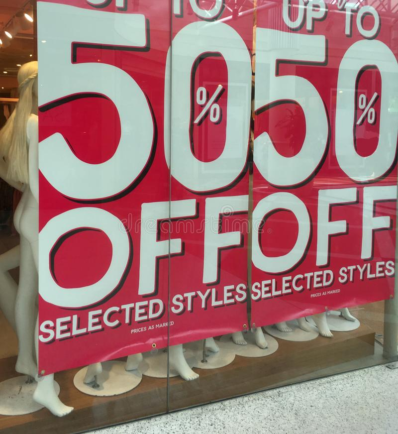 50% off sale sign banner stock photo