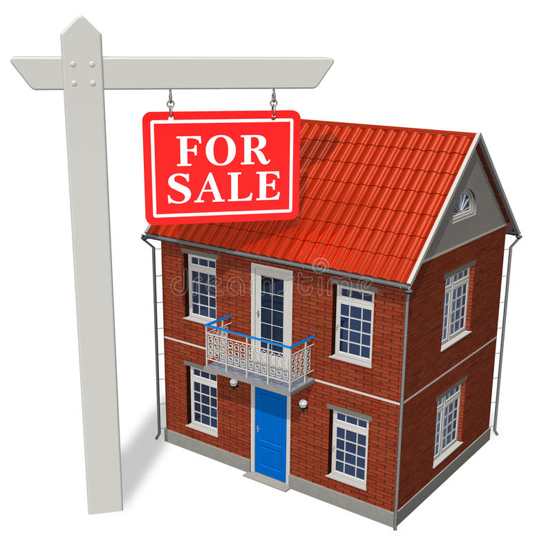 Download For Sale Sign In Front Of New House Stock Illustration - Illustration: 17247948